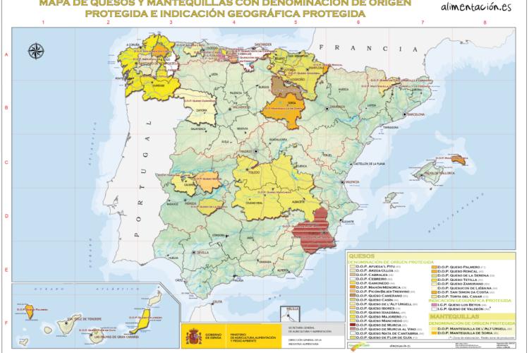 MAPA DE QUESOS Y MANTEQUILLAS CON DENOMINACIÓN DE ORIGEN EN ESPAÑA